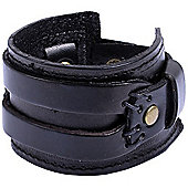 Urban Male Genuine Black Leather Cuff Bracelet