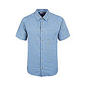 Holiday Mens Cotton Walking Short Sleeved Suummer Breathable Lightweight Shirt - Blue