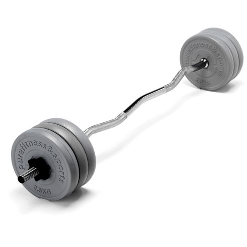 PureFitness & Sports EZ Curl Bar with 15kg Weight Set