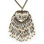 Vintage Inspired Open Heart With Freshwater Pearl Dangles Pendant On Bronze Tone Chain - 40cm Length/ 5cm Extension