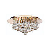 Gold Plated Crystal Ceiling Light with Halogen Lamps