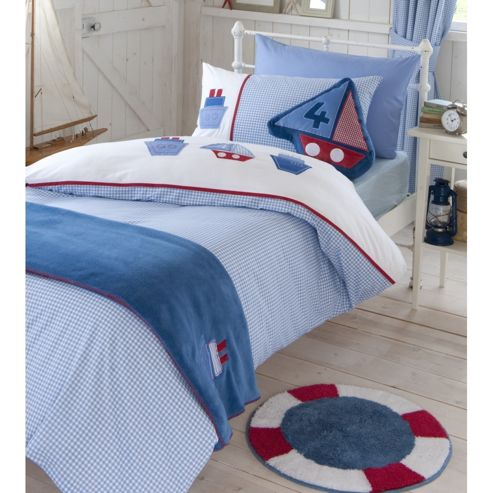 Catherine Lansfield Home Kids Sailing Boats Single Bed Quiltset Blue