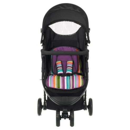 Obaby Tour 3 Wheel Pushchair, Purple Stripe