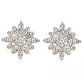 Sterling silver stud earrings with small pave flower