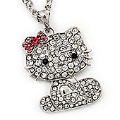 Diamante Kitten With Pink Bow Pendant In Silver Tone Metal - 64cm Length with 10cm Extension