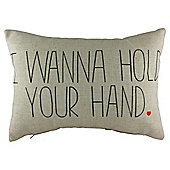 I Want To Hold Your Hand Cushion, Natural