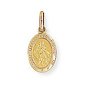 Jewelco London 9ct Yellow Gold - Oval St. Christopher Medallion Charm Pendant -