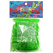 Rainbow Loom Official Lime Green JELLY Rubber Bands Refill 600 count + 24 C-clips