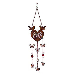 Rusty Look Heart Hanger with Bird & Patterned Butterfly Design