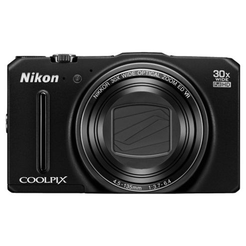 Nikon Coolpix S9700 Digital Camera, Black, 16MP, 30x Optical Zoom, 3inch OLED Screen, Wi-Fi
