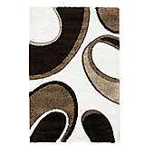 Oriental Carpets & Rugs Fashion Carving 7648 Ivory/Brown Rug - 80cm x 150cm