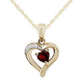 Gemondo 9ct Yellow Gold 0.26ct Garnet & Diamond Heart Pendant on Chain
