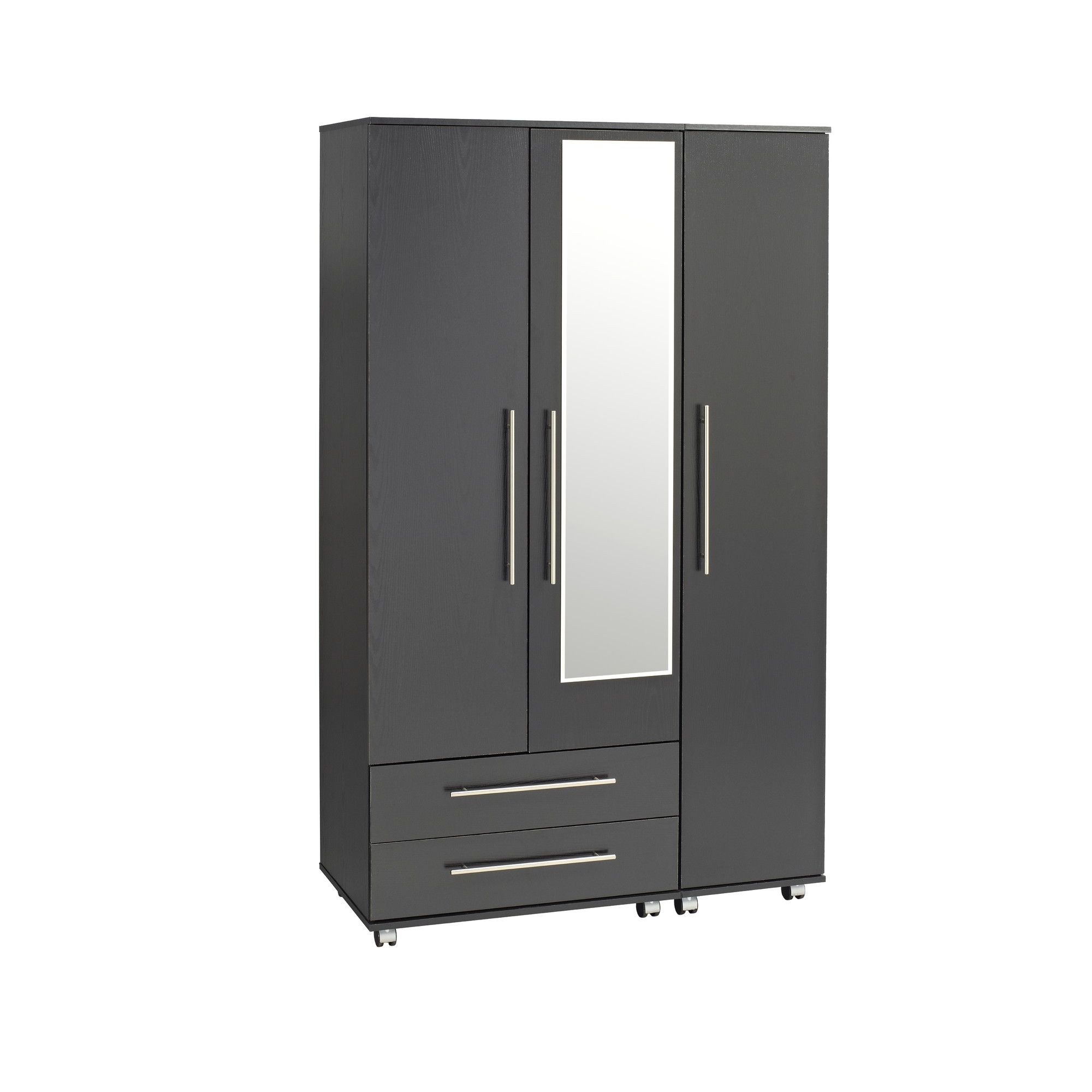 Ideal Furniture Bobby Triple Wardrobe with Two Drawer and Mirror - Black at Tesco Direct