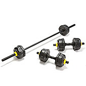 Everlast 25kg Weight Set with Barbell & Dumbells Vinyl Fortek