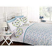 Rapport Art Hearts And Flowers Double Quilt Set Blue/Green
