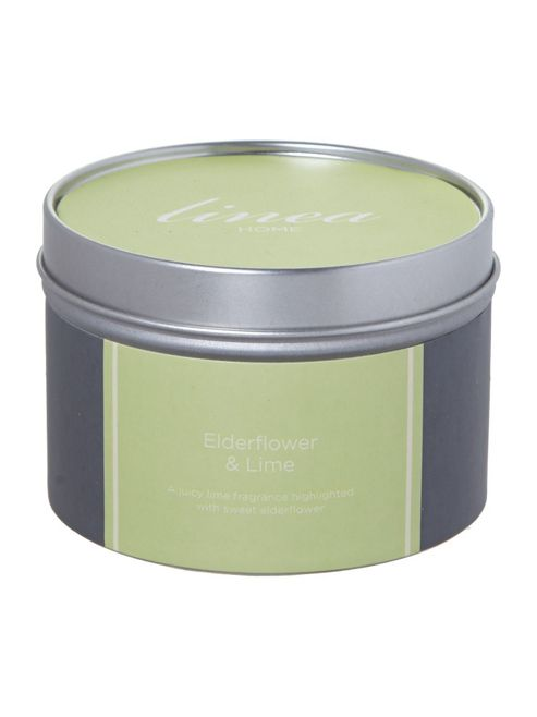Linea Elderflower & Lime Tin Candle In Green