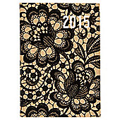 Kraft Lace Print 2015 Diary A6 Week To View