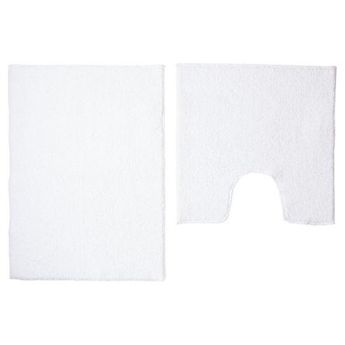 buy tesco basic bath mat set white from our bath mats. Black Bedroom Furniture Sets. Home Design Ideas