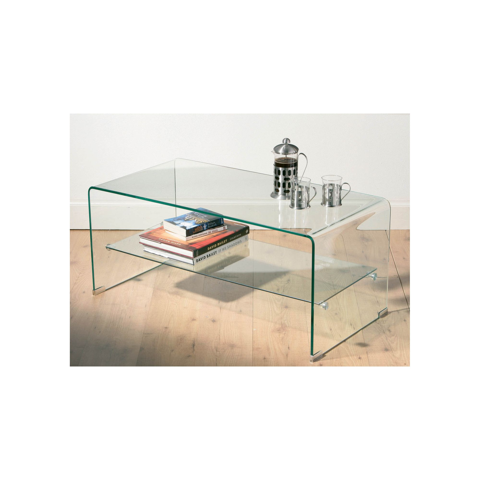 Premier Housewares Two Tier Coffee Table with Bent Glass Top at Tesco Direct