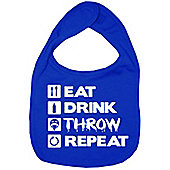 Dirty Fingers Eat Drink Throw Repeat Baby Bib Royal Blue