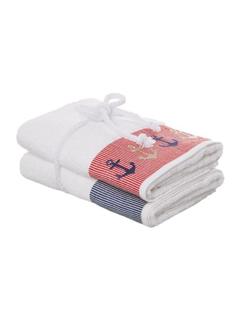 Linea Nautical Embroidered Hand Towel Pack Of 2 In White