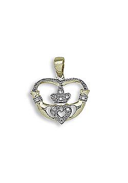 Jewelco London 9 Carat Yellow Gold 6pts Diamond Claddagh Pendant