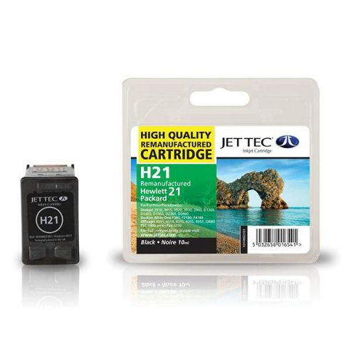HP21 C9351AE Black Remanufactured Ink Cartridge by JetTec - H21