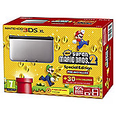 3DS XL Silver + Black + New Super Mario Bros 2
