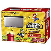 3DS XL Silver + Black + New Super Mario Bros 2