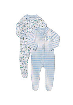 F&F 2 Pack of Crocodile Slogan Sleepsuits - Blue