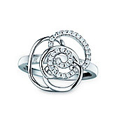 REAL Effect Rhodium Plated Sterling Silver White Cubic Zirconia Flower Dress Ring