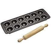 KitchenCraft Italian Collection Ravioli Tray with Rolling Pin