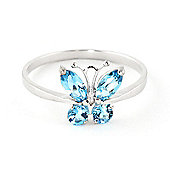 QP Jewellers 0.60ct Blue Topaz Butterfly Ring in 14K White Gold