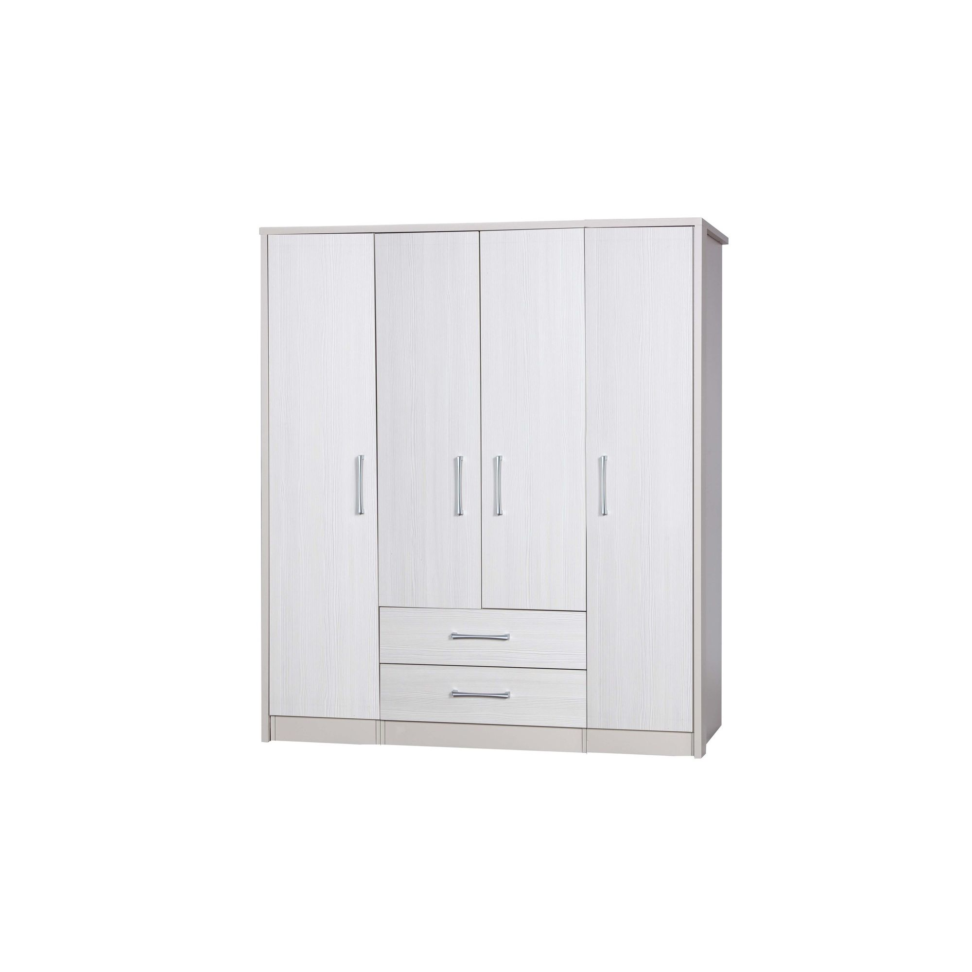 Alto Furniture Avola 4 Door Combi and Singles Wardrobe - Cream Carcass With White Avola at Tescos Direct