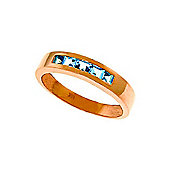 QP Jewellers 0.60ct Blue Topaz Princess Prestige Ring in 14K Rose Gold