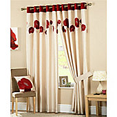 Curtina Danielle Eyelet Lined Curtains 90x90 inches (228x228cm) - Red