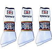 3 Pack Respect England Mens White Sport Socks Size UK 6-11