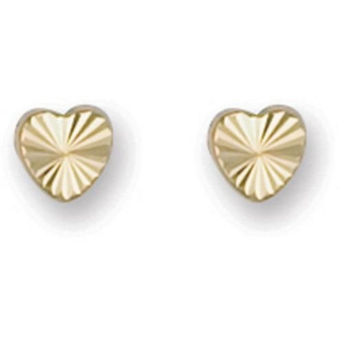 Jewelco London 9ct Yellow Gold Diamond cut Heart shaped Studs