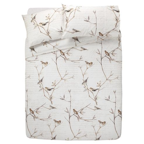Tesco Woodland Birds Duvet Cover And Pillowcase Set, Double