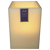 Tesco Square LED Pillar Candle, Medium
