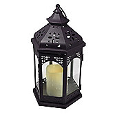 Pharmore Ltd Flameless Metal Lantern - White - 34 cm H x 19 cm W x 15 cm D