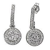 Jewelco London Rhodium-Coated Sterling Silver CZ Drop Earrings