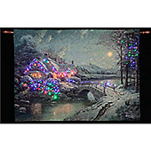 Thomas Kinkade Christmas Moonlight Illuminated Hanging Tapestry