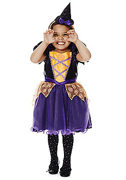 F&F Halloween Pumpkin Witch Costume Dress-Up Costume - Purple & Orange