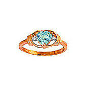 QP Jewellers Diamond & Blue Topaz Halo Heart Ring in 14K Rose Gold