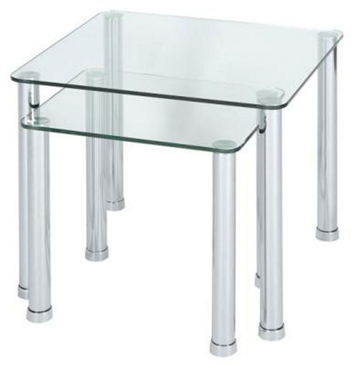 LEVV Clear Glass Nest of 2 Tables with Chrome Legs