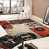 Retro Funky Beat Box Multi 120x160 cm Rug