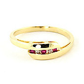 QP Jewellers Ruby & SI-1 Diamond Channel Set Embrace Eternity Ring in 14K Gold