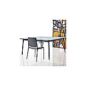 Rexite Alex Dining Table - Black - Matt Glass