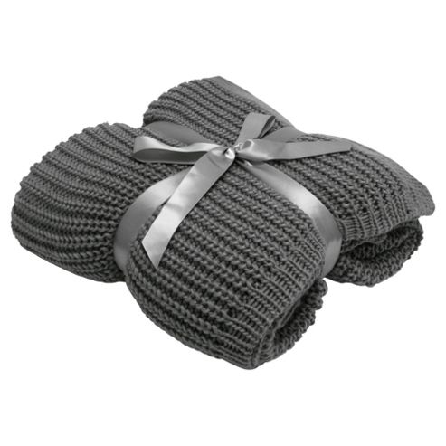 Tesco Chunky Knit Throw Grey